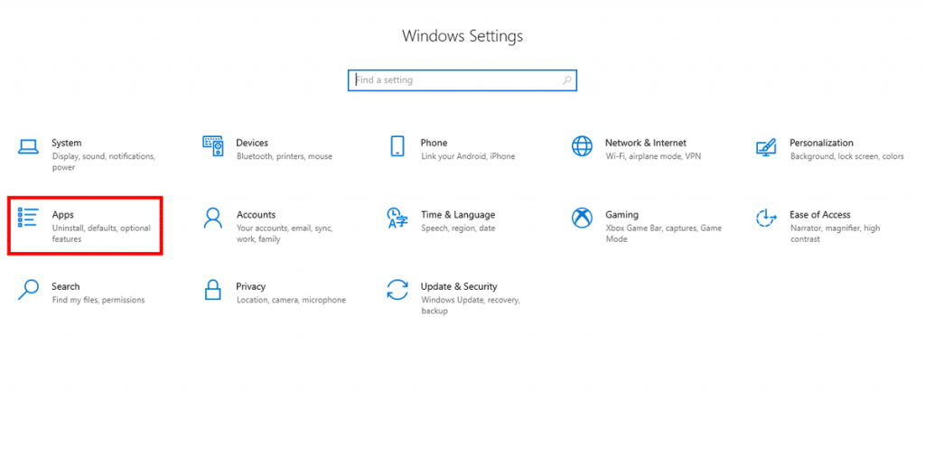 Windows 10 Start menu Apps Settings