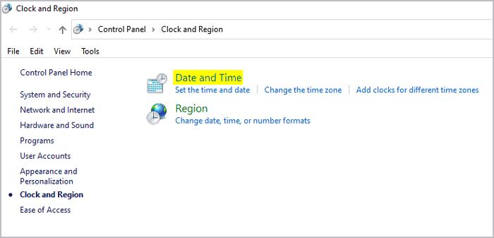 Windows Additional Date time & regional settings