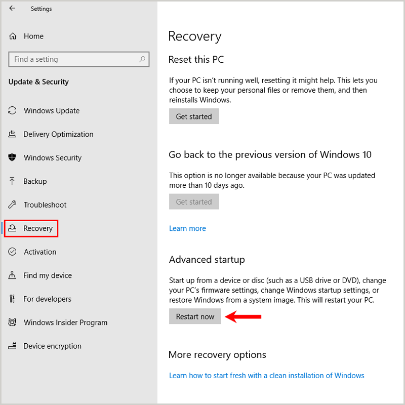 Windows Settings Recovery Advanced startup