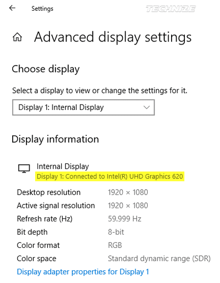 Windows advanced display settings