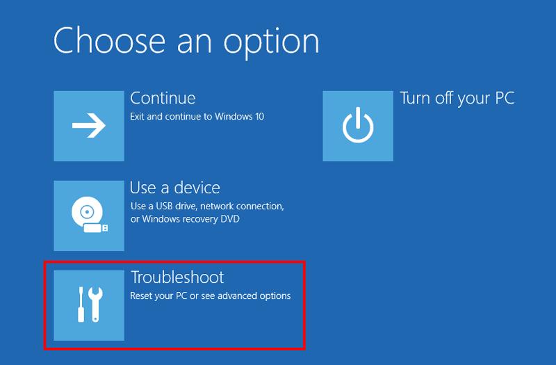 Windows advanced startup Choose an option
