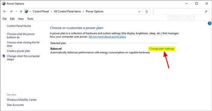 Windows change power plan settings