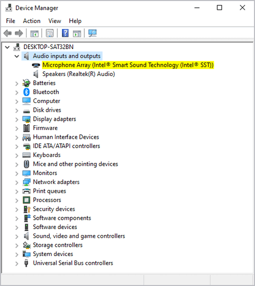 Windows device manager audio inputs and outputs