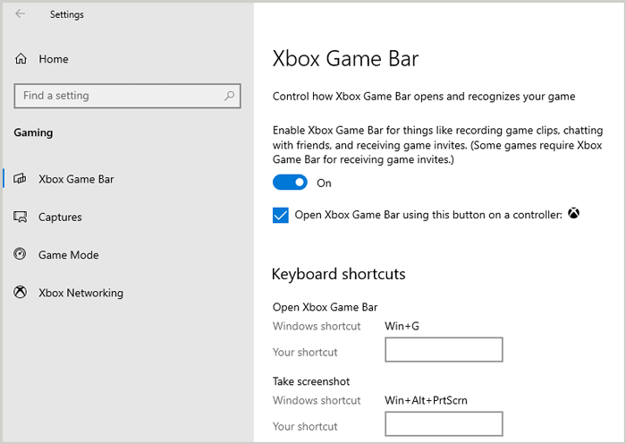 Windows game bar