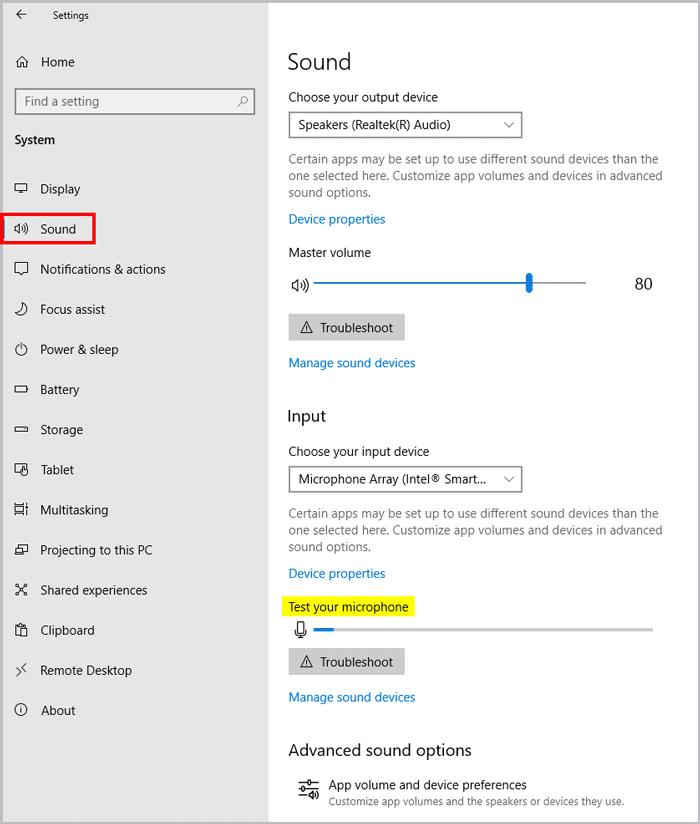 Windows microphone testing