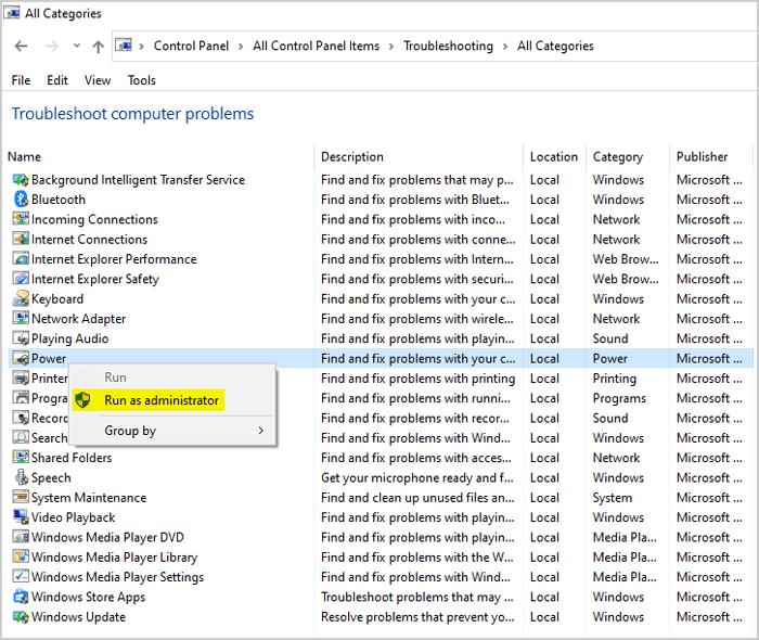 Windows power option Troubleshooting