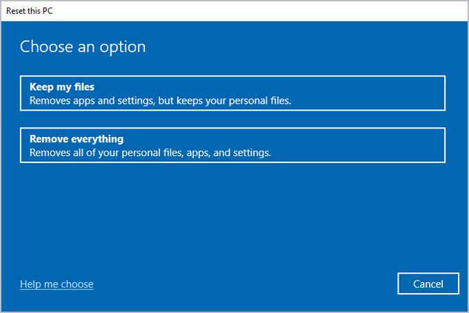 Windows recovery reset this PC