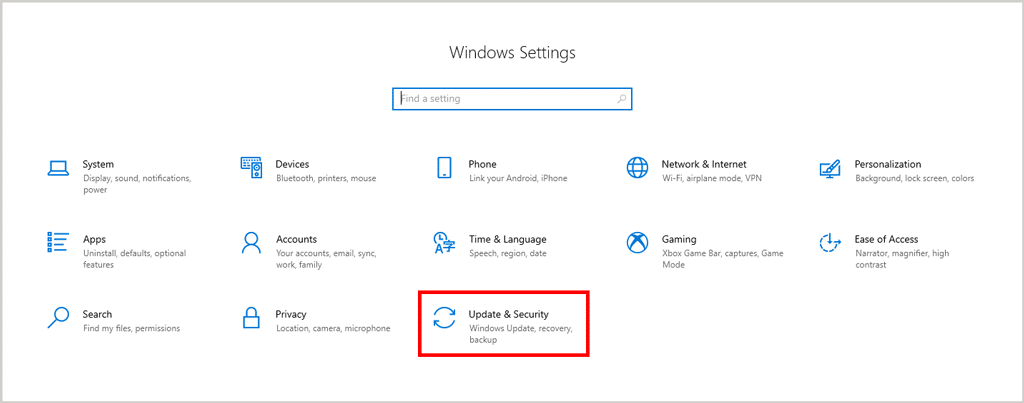Windows settings Update and security