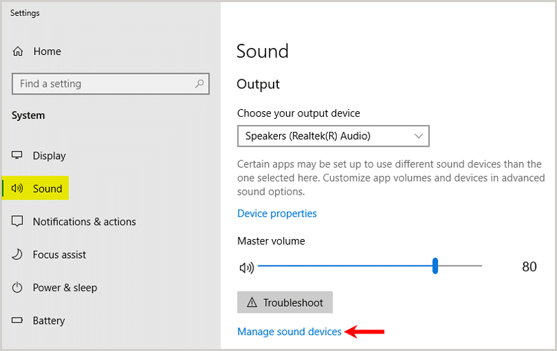 Windows sound settings