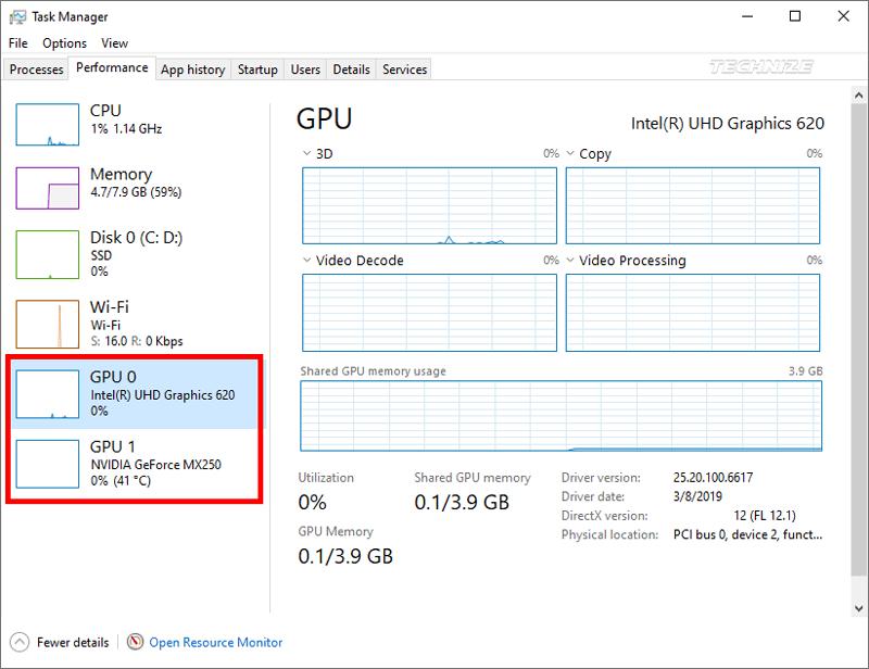 Windows task manager Performance GPU