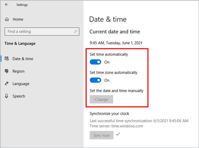 Windows time and language settings