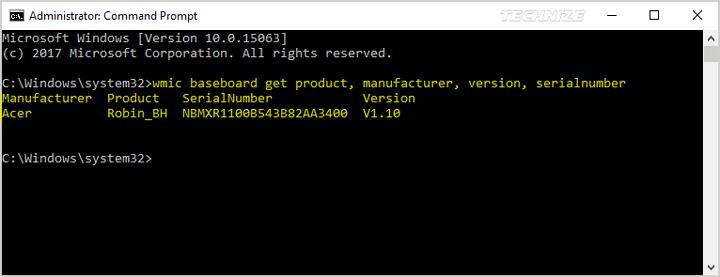 cmd motherboard information