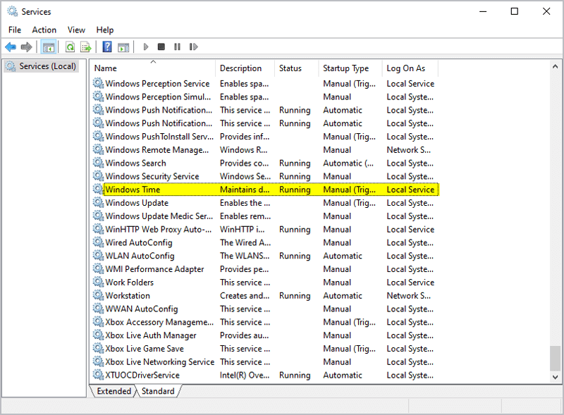 services.msc windows time